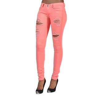 Womens Rhinestoned Ripped Skinny Jeans Coral