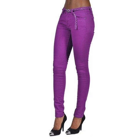C'est Toi 4 Pocket Braided Belted Solid Color Skinny Jeans Plum