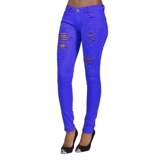 Womens Rhinestoned Ripped Skinny Jeans Blue