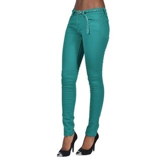 C'est Toi 4 Pocket Braided Belted Solid Color Skinny Jeans Jade