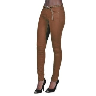 C'est Toi 4 Pocket Braided Belted Solid Color Skinny Jeans Brown
