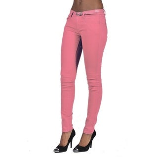 C'est Toi belted 5 Pocket Solid Colored Pale Coral Jeans (More options available)