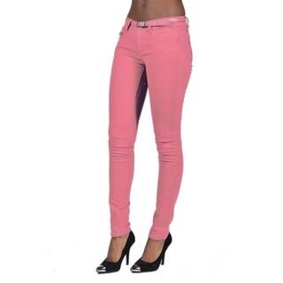 C'est Toi belted 5 Pocket Solid Colored Pale Coral Jeans