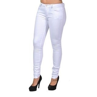 C'est Toi 4 Pocket Braided Belted Solid Color Skinny Jeans (White)