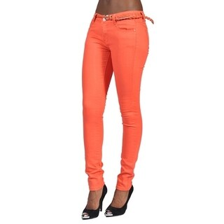 C'est Toi 4 Pocket Braided Belted Solid Color Skinny Jeans Salmon