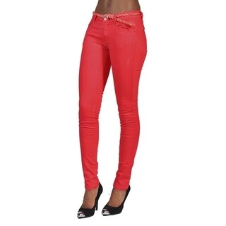C'est Toi 4 Pocket Braided Belted Solid Color Skinny Jeans Scarlet