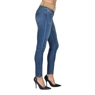 C'est Toi Skinny Brown Belted Denim Jeans