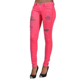 Womens Rhinestoned Ripped Skinny Jeans Orange