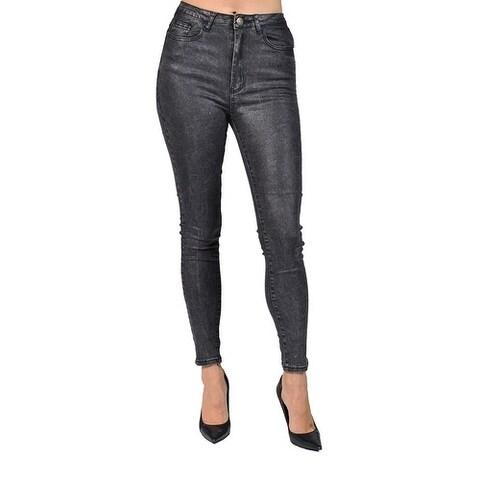 Machine Brand Skinny Fashion Solid Coated Charcoal Pants