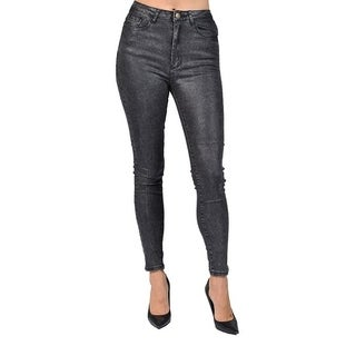 Machine Brand Skinny Fashion Solid Coated Charcoal Pants