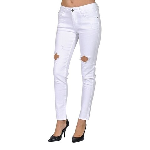 C'est Toi Denim Skinny Ripped White Jeans
