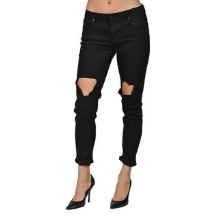 C'est Toi Large Ripped Black Denim Jeans