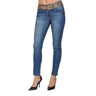 C'est Toi Skinny Gold Buckle Belted Denim Jeans