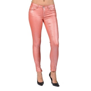 Women's Solid Coated Salmon Skinny Jeans
