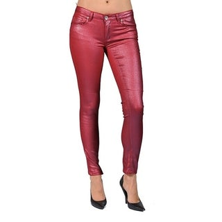 Women's Solid Coated Burgundy Skinny Jeans