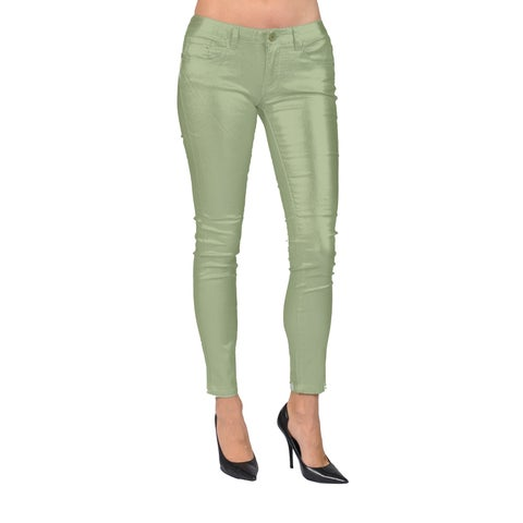 Women's Solid Coated Copper Skinny Jeans
