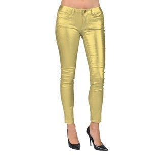 Machine Brand Skinny Fashion Solid Coated Gold Pants