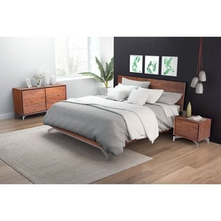 Perth Chestnut-finish Acacia/Metal Queen Bed