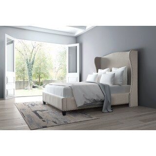 Enlightenment Beige Poly-linen/Wood Queen-size Bed
