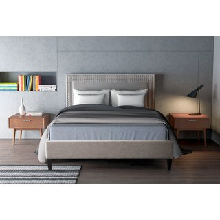 Renaissance Dove Grey Upholstered Wood Queen Size Bed Frame