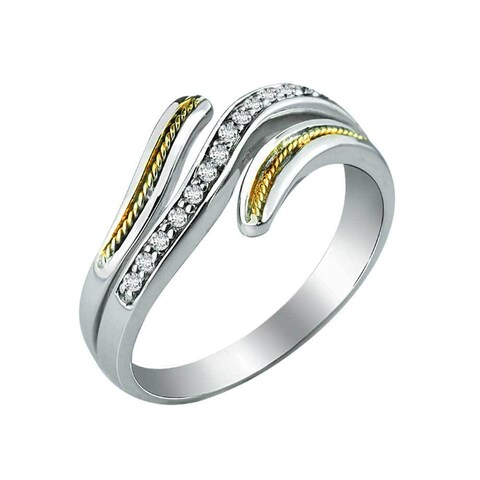 Swirly Sterling Silver and 14K Gold Ring - White