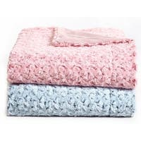 De Moocci Plush Flower Reversible Faux Fur Throw - 50 in x 60 in