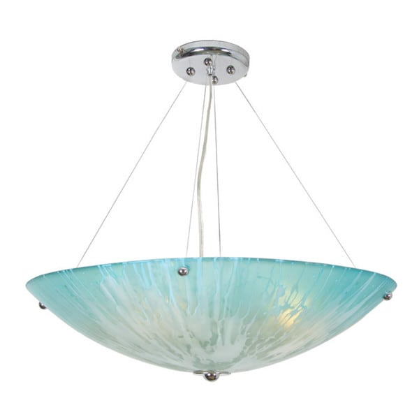 Van Teal Reserve Teal and Chrome Acrylic and Metal Chandelier