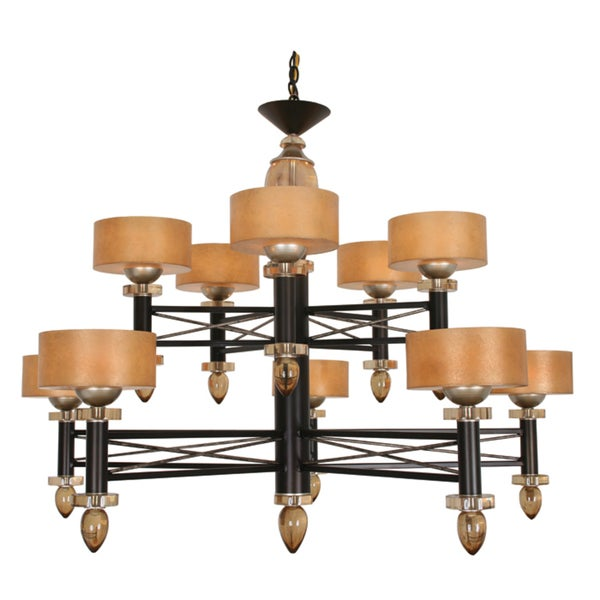 Van Teal Danielle Two-tier Bronze Metal Base Beige Linen Shades Chandelier