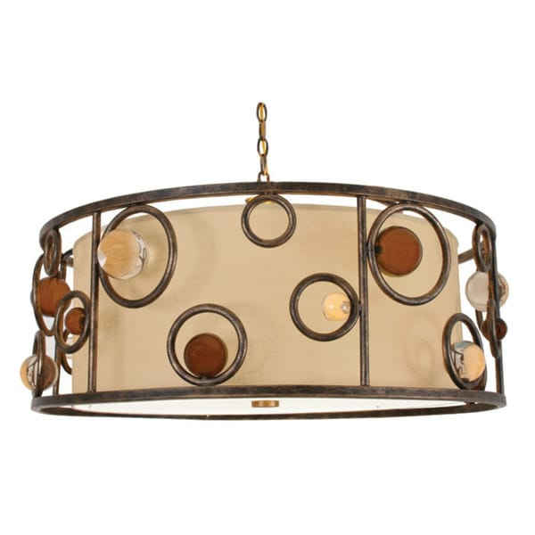 Van Teal Wheels and Wheels Gold Metal and Linen Chandelier