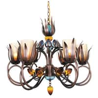 Van Teal Dance of Fire Collection D-ana Copper Finish Metal/Acrylic 6-light Chandelier