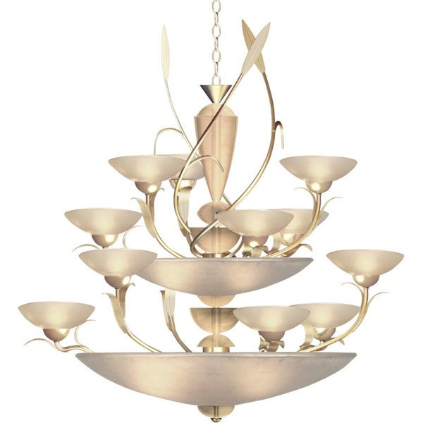 Van Teal Persuasive Silver Metal Multi-tiered Chandelier with Ivory Acrylic Shades