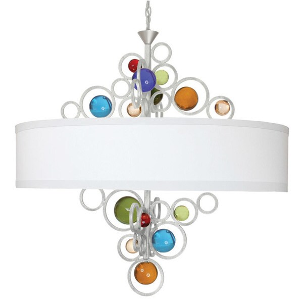 Van Teal Wheels of Style Metal/Acrylic/Linen Drum-style 6-light Chandelier
