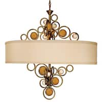 Van Teal Wheels of Flare Amber Acrylic/Linen/Metal 6-light Drum Chandelier