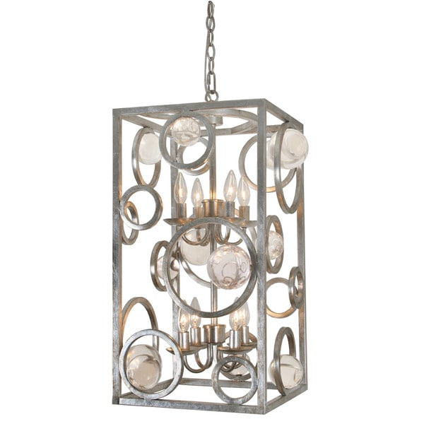 Cage-style Pendant Light With Clear Polished Acrylic Globes - Silver