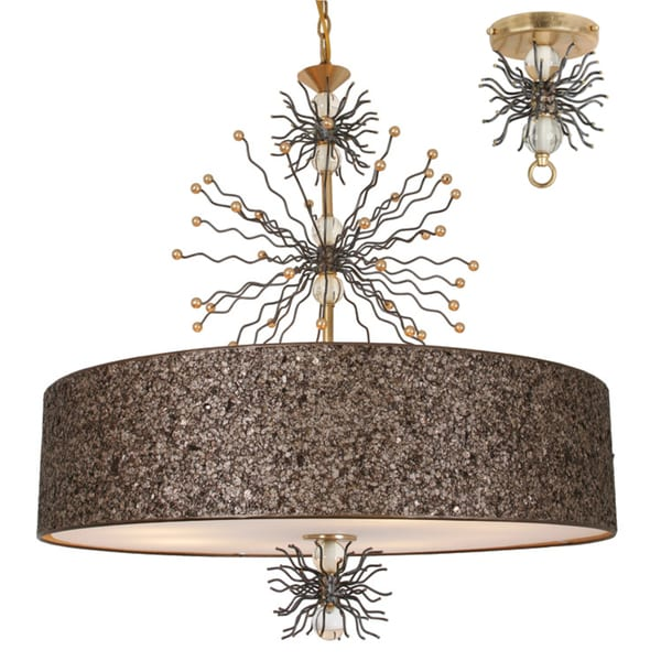 Van Teal Sunburst Goldtone Finish Acrylic and Metal Chandelier