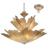 Van Teal Always Together Silver Finish Metal/ Amber Acyrlic Bowl Shade 9-light Chandelier