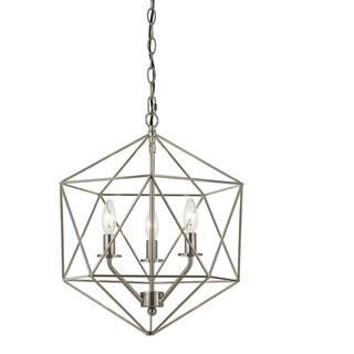 AF Lighting Bellini Brushed-nickel Metal 60-watt 3-Light Chandelier