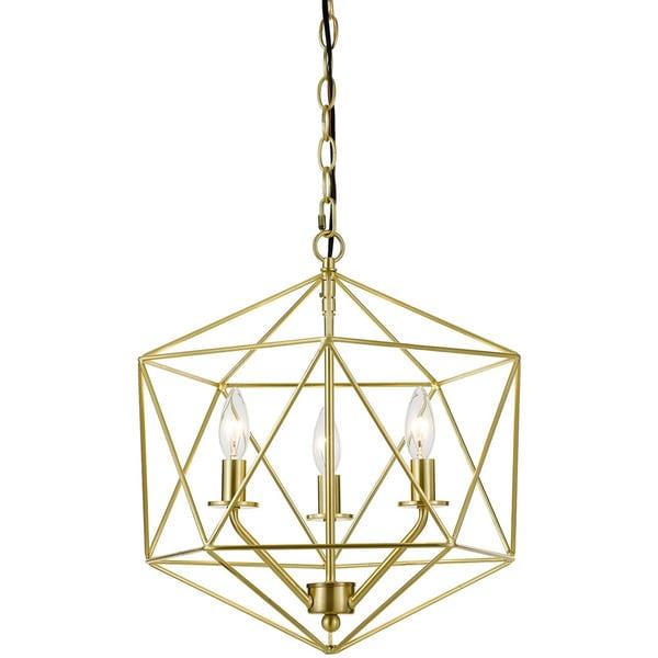AF Lighting Brushed Goldtone Metal 3-Light Chandelier