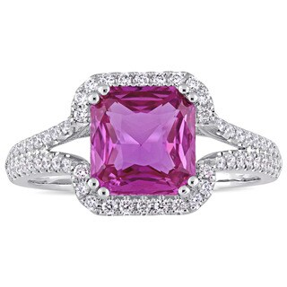 Miadora Signature Collection 14k White Gold Octagon-Cut Pink Sapphire and 2/5ct TDW Diamond Halo Eng
