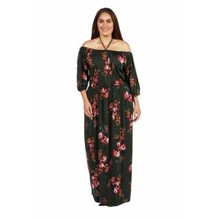 24/7 Comfort Apparel Jungle Hibiscus Plus Size Maxi Dress