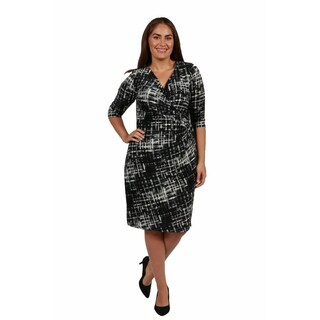 24/7 Comfort Apparel Royal Faux Wrap Plus Size Dress
