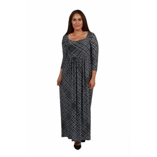 24/7 Comfort Apparel Cocktails in Tahoe Plus Size Maxi Dress
