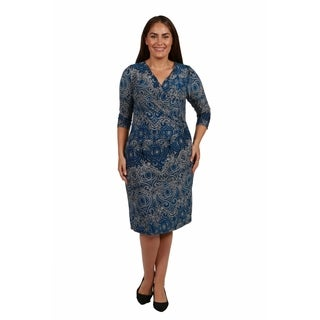 24/7 Comfort Apparel Christina Faux Wrap Plus Size Dress