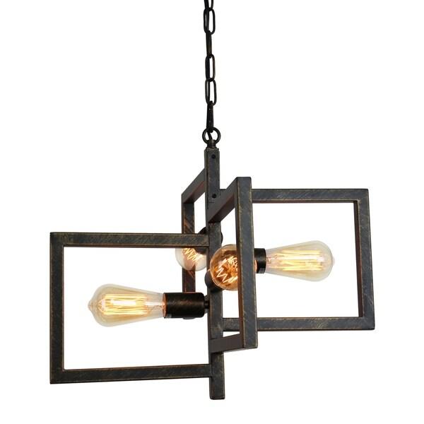 Edison 4 Light Rustic Pendant Antique Copper