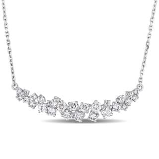 Miadora Signature Collection 14k White Gold 1-1/10ct TDW Diamond Clustered Journey Necklace|https://ak1.ostkcdn.com/images/products/18516464/P24626511.jpg?impolicy=medium