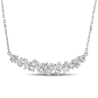 Miadora Signature Collection 14k White Gold 1-1/10ct TDW Diamond Clustered Journey Necklace