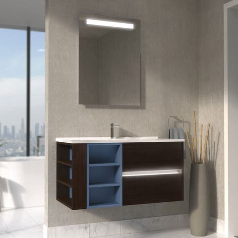 Maykke 39-Inch Carolyn Vanity Set with LED, Dark Walnut with Slate Blue