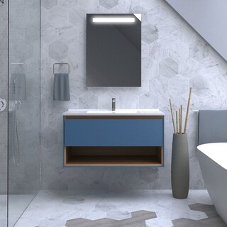 Maykke 39 Inch Carolyn Vanity Set with Shelf, Slate Blue with Golden Oak