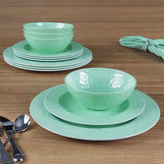 American Atelier Green 12-piece Dinnerware set