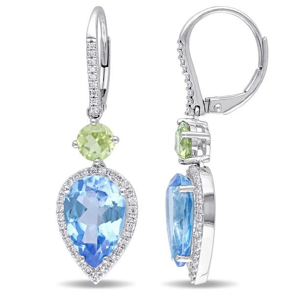 Miadora 14k White Gold Blue Topaz and Peridot with 3/8ct TDW Diamond Earrings (G-H, SI1-SI2)